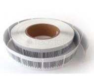 Caja 1.000 etiquetas adhesivas antihurto RF blancas - 4 x 4 con código de barras