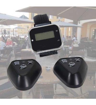 Pack  Avisador Clientes  con reloj y pulsador - LLAMAYA