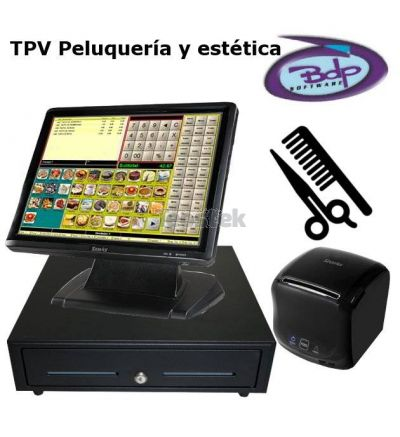 Pack TPV Táctil LUNARPOS con programa BDP para Peluqueria y Estética