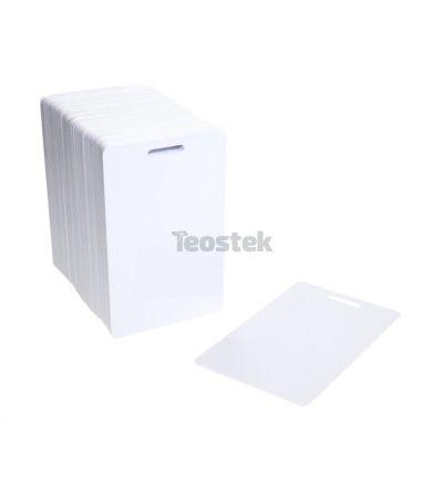 Tarjetas PVC blancas con ranura en lado corto (Pack de 100)