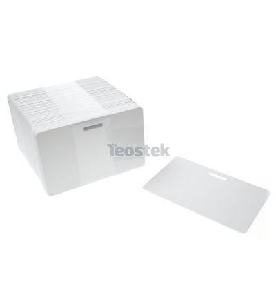 Tarjetas PVC blancas con ranura en lado largo (Pack de 100)