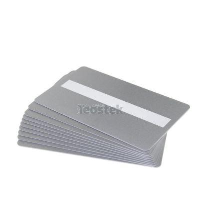 Tarjetas PVC plateadas con panel de firma para impresoras de tarjetas (Pack de 100)