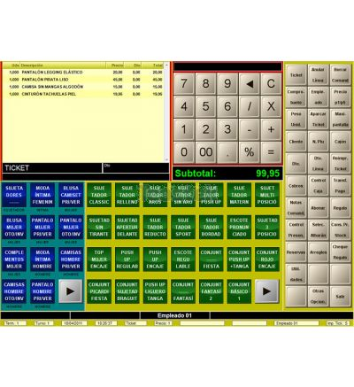 Software TPV para tiendas de moda con talla y color BDP.Net táctil